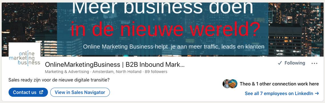 Header bedrijfspagina LinkedIn