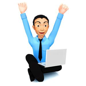 3D successful business man with a laptop and arms up